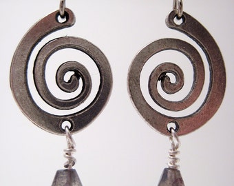 Metal Spiral Earrings with Faceted Labradorite Teardrops REDUCED PRICE