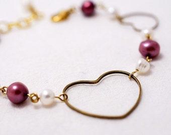 Vintage Hearts & Pearls Bracelet
