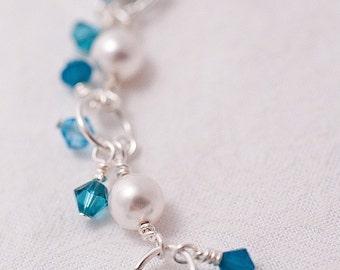 Swarovski Pearl & Crystal Charm Bracelet in Teal