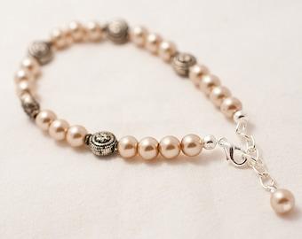 Antique Silver & Golden Pearls Bracelet