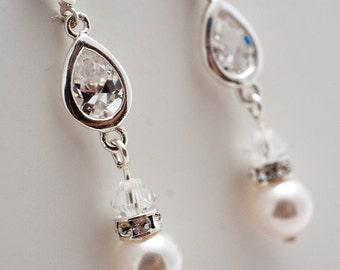 Teardrop Crystal & Silver Earrings