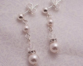 Dangling Pearl & Swarovski Earrings