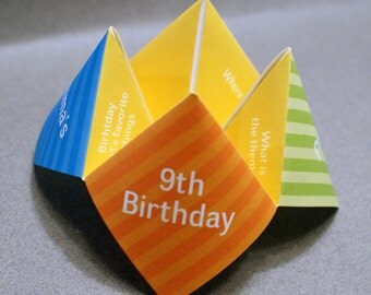 Kids Birthday Invitation, Cootie Catcher, Children, Favor, Personalized, Custom, DIY, Decor, Kids Birthday Party, DIY Birthday, DIY Party