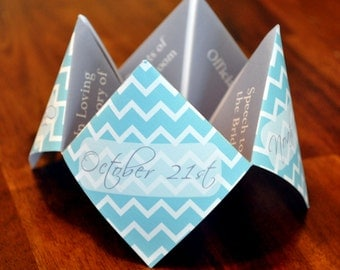 Wedding Program, Cootie Catcher, Custom, Printable, Decor, Invitation, Unique, Personalized, Party, Favor, Chevron, DIY, Origami, Ceremony