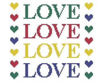 Colorful LOVE 'N' HEARTS Cross Stitch Chart