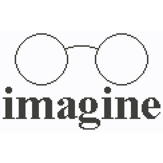 John Lennon Inspired IMAGINE Cross Stitch Chart