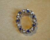 Blue rhinestone & pearl pin by Gerrys