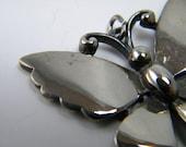 Vintage Butterfly Pendant by J.J.  Silver Color