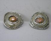 Vintage Silver, Enamel & Copper Earrings Handmade