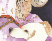 ACEO Giclee PRINT watercolor - White Dog - two souls miniature - Free Shipping