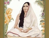 SARADA DEVI greeting card watercolor spiritual saints and sages
