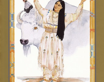 WHITE BUFFALO Calf Woman greeting card watercolor spiritual saints and sages