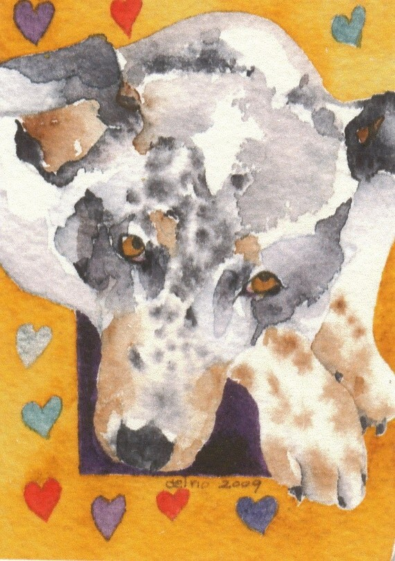 Dog BUDDHA Aceo Giclee PRINT watercolor miniature - Free Shipping