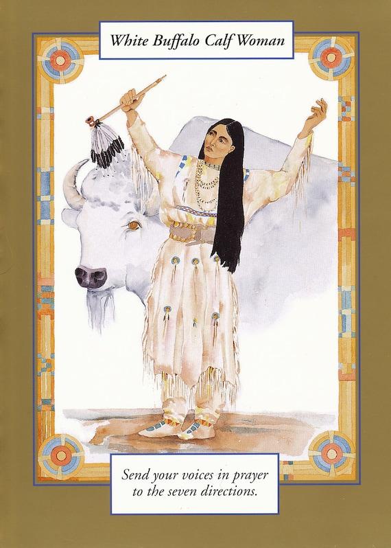 WHITE BUFFALO Calf Woman greeting card watercolor spiritual saints and sages