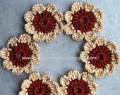 Crochet flower embellishment, appliques, brown and beige x 6