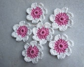 crochet flower embellishments, applique, white and pink, 4