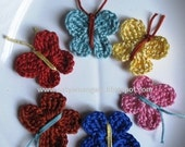 6 applique crochet butterflies for embellishment