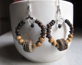 Beaded hoop earrings, African wooden beads