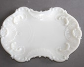 Vintage Ornate Milk Glass Plate