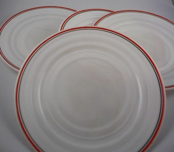 Retro Milk Glass Salad/Dessert Plates (4)