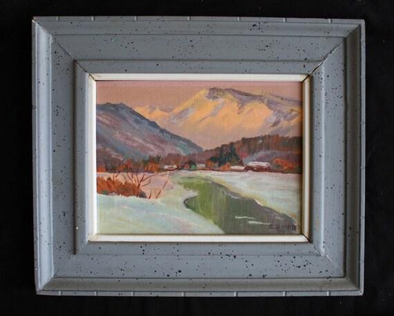 Framed Mountain Landscape Oil Painting