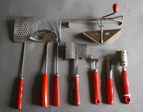 Retro Red Kitchen Utensils