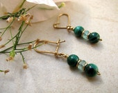 Malachite gemstone earrings and Apatite, 14k Gold filled Earrings, elegant and delicate earrings, green gemstones, natural