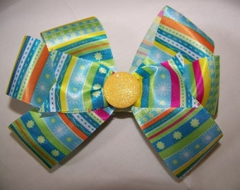 Multi Colored Boutique Bow with Yellow Center