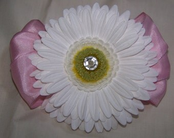Gem Centered White Daisy on Pink Ribbon Barrette