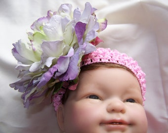 Large Purple and Green Peony on Pink Headband
