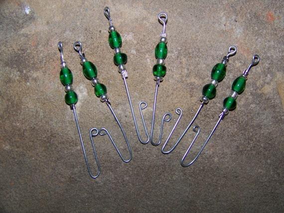 Green Glass Beaded Ornament Hooks