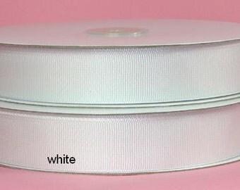 3/8 inch x 50 yds Grosgrain Ribbon -- WHITE