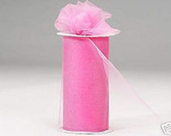 6 inch x 75 ft Nylon Tulle Roll -- PINK