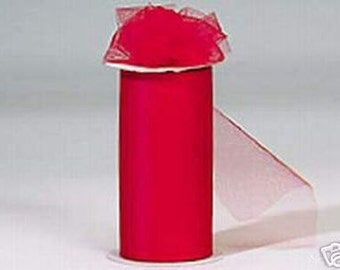 6 inch x 75 ft Nylon Tulle Roll --RED