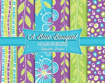 INSTANT DOWNLOAD: A Blue Bouquet Digital Flower Leaves Floral Scrapbook Paper 6 Pack