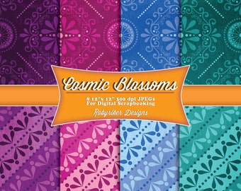 INSTANT DOWNLOAD: Cosmic Blossoms Digital Scrapbook Paper 8 Pack
