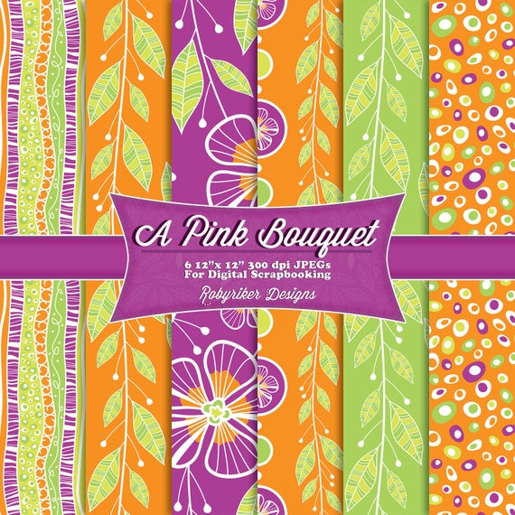 INSTANT DOWNLOAD: A Pink Bouquet Flower Leaves Floral Digital Scrapbook Paper 6 Pack
