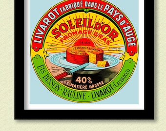French Cheese Label Print. Vintage   Rising  Sun 30x30 cms  Poster