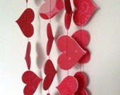 One 10 foot Pink and Red Valentines Day Heart Garland