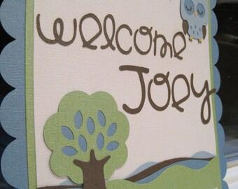 """WOODLAND OWL """"welcome"""" """"it's a boy"""" Custom Door Sign"""