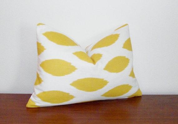 """SALE- Yellow Ikat Decorative Pillow Cover- 12x16"""" Lumbar"""