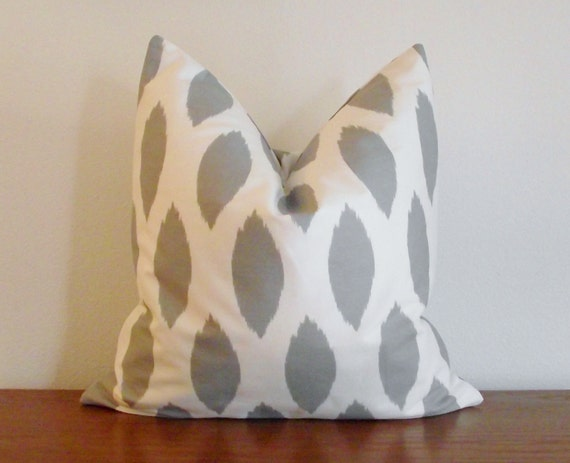 "Decorative Pillow Cover- Gray-  Ivory/ White- Ikat -18x18"" sq"