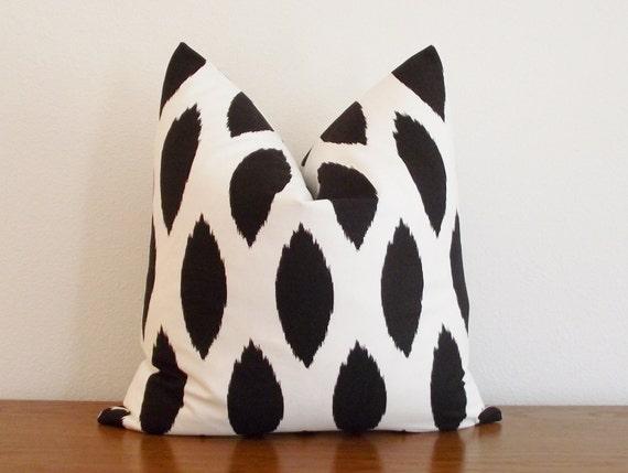 "Decorative Pillow Cover- Black- Ivory/ White- Ikat Chipper- 18x18"""
