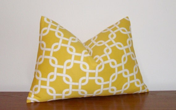 """RESERVED for Angie-Decorative Pillow Cover- Geometric- Twill Gotcha- Yellow- White -12x18"""" Lumbar"""