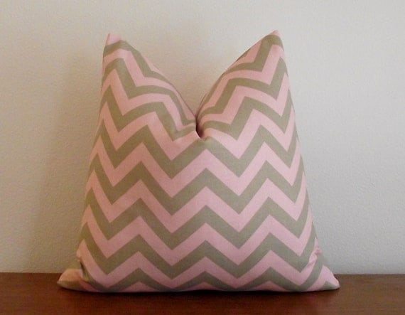 SALE- Decorative Pillow Cover- Chevron- Zig Zag- Pink- Taupe- 18x18 inches