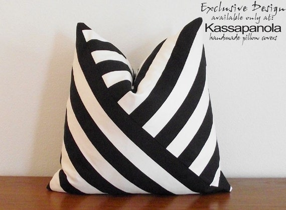 SALE- Decorative Pillow Cover- Black and White- Stripes- 18x18""