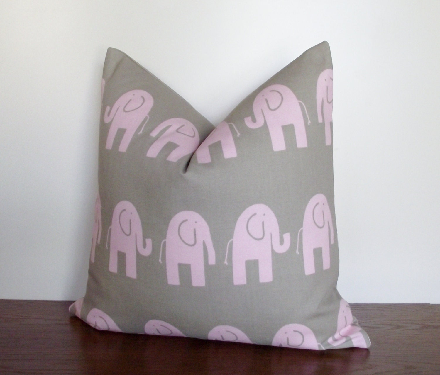 Pink Elephant Throw Pillow : SALE Decorative Pillow Cover-Bella Pink Elephant Children