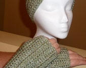 Green  Fingerless Gloves and Headband/Earwarmer Set