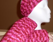 Pink Fingerless Gloves and Headband/Earwarmer Set