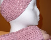 Pink Fingerless Gloves and Headband /Earwarmer